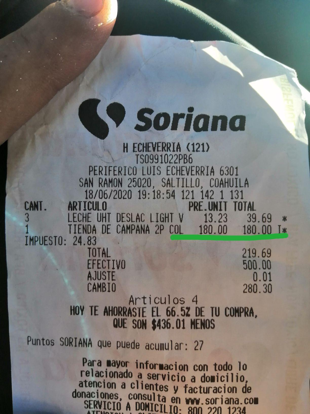 Soriana: Tienda de campaña p/2 personas marca coleman
