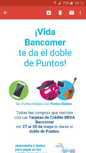 Bancomer: puntos dobles del 27 al 30 de mayo