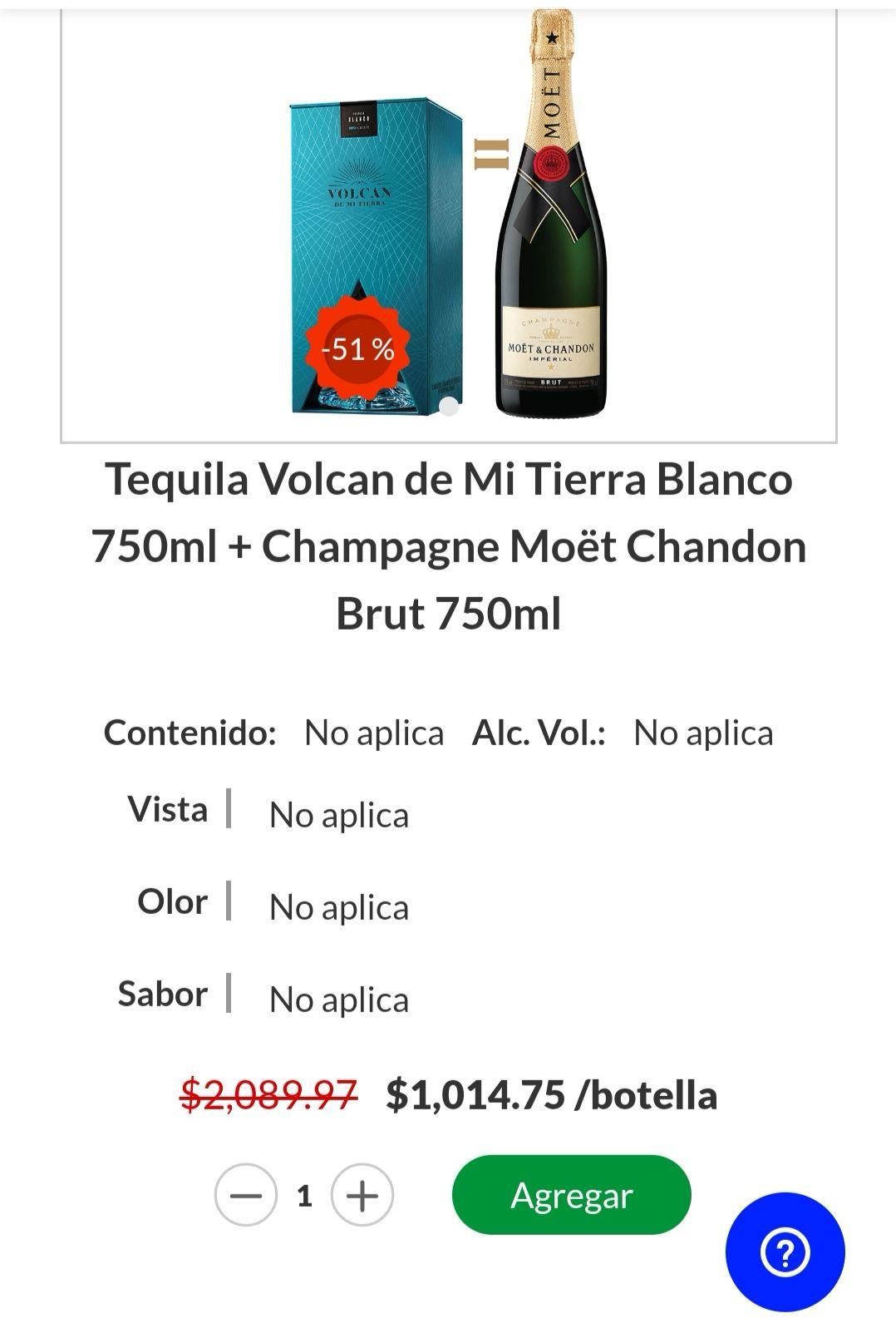 La Europea: Botella de Tequila volcán de mi tierra + Moët