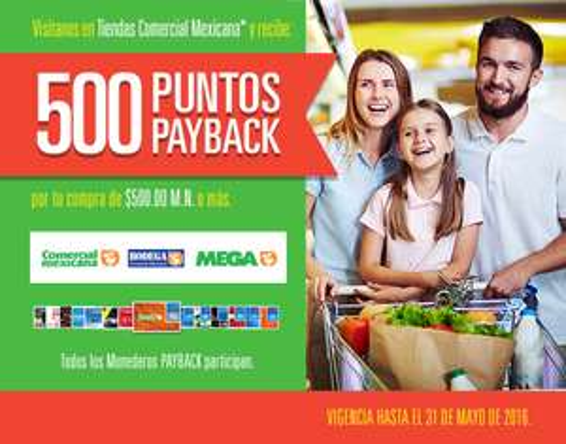 Comercial Mexicana: PayBack 500 puntos en la comer en compras mínimas de $500 (equivalentes a $50)
