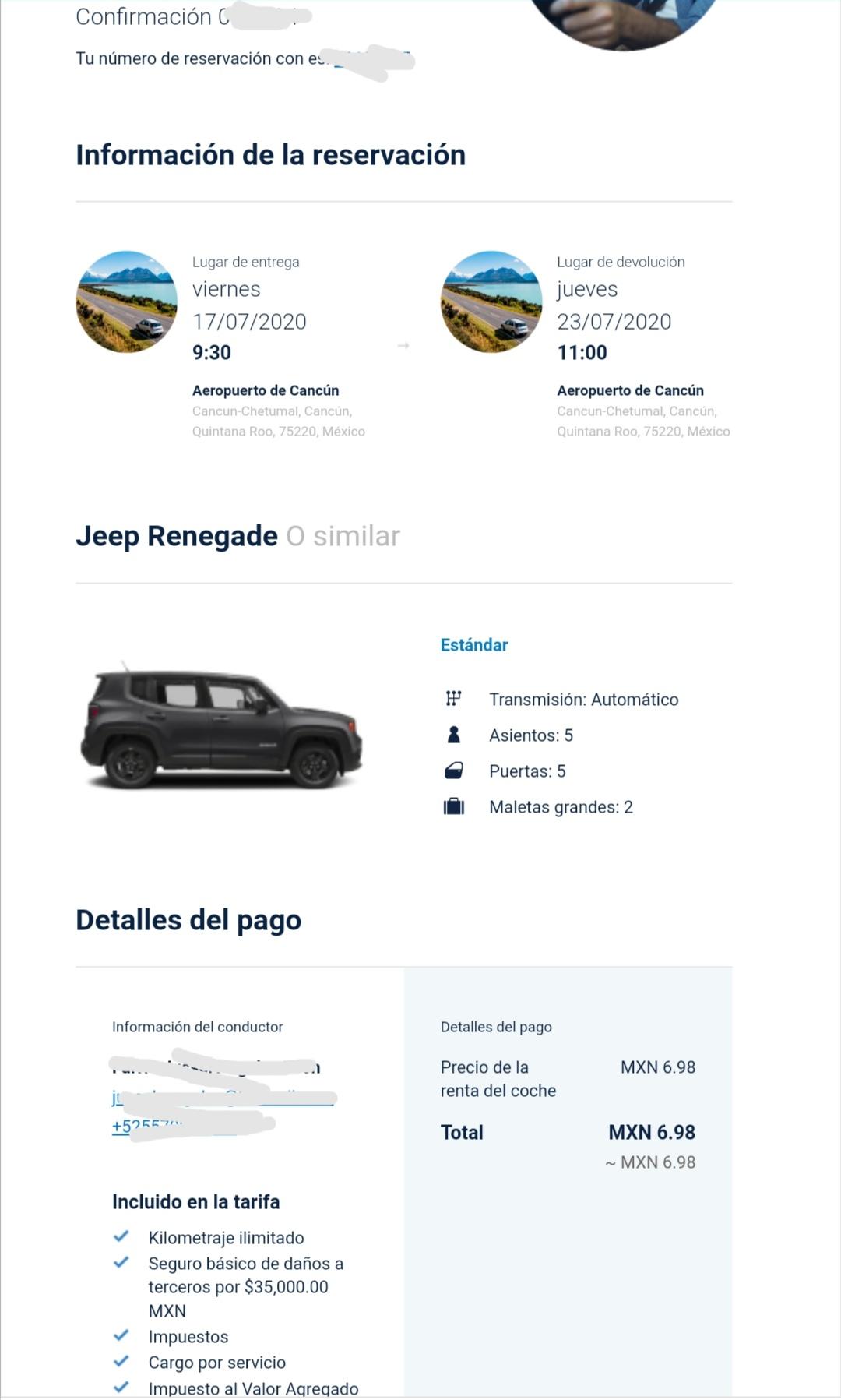 Aeromexico:;Renta de auto $7 7 días
