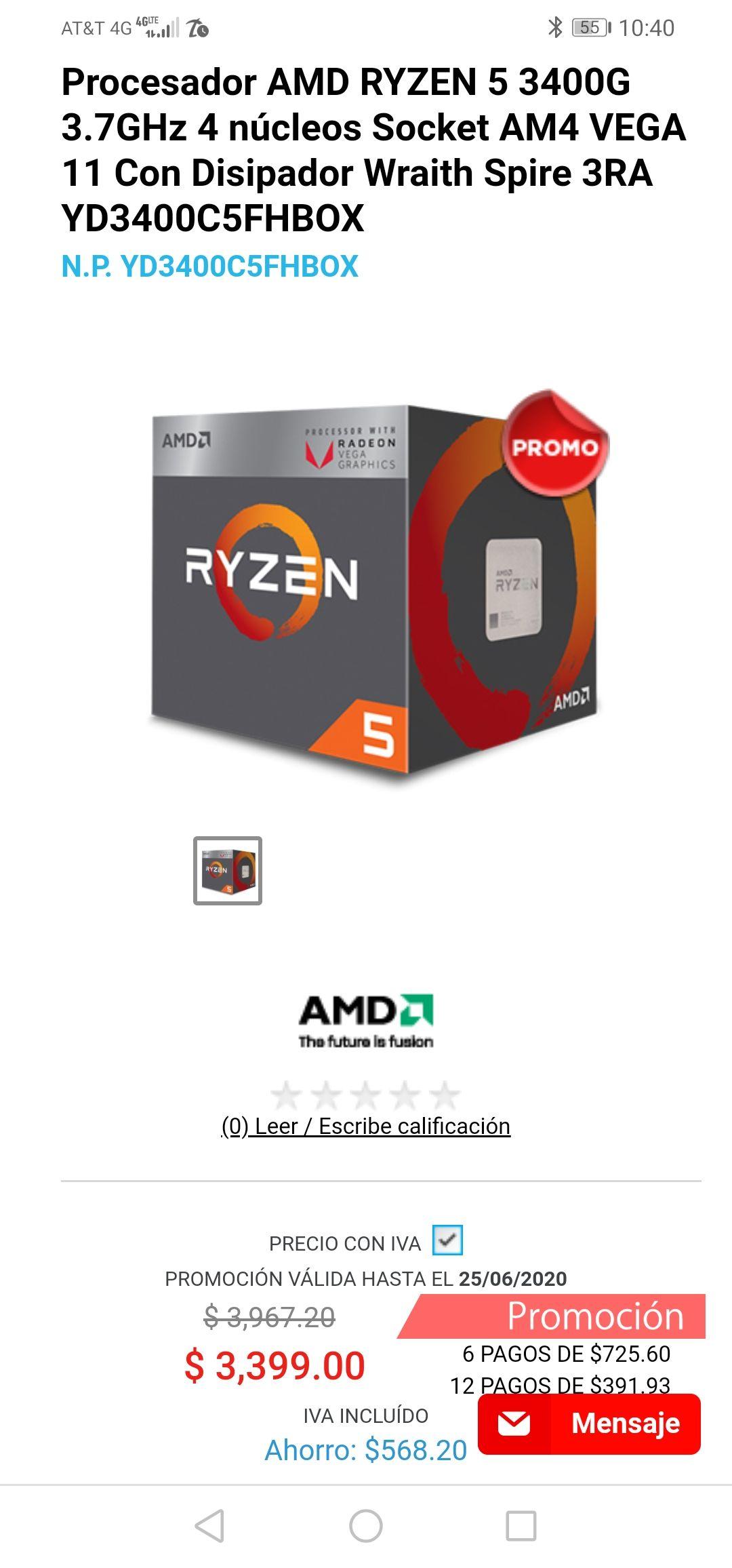 Digitallife: Ryzen 5 3400g 3.7 ghz + 3 meses sin interés citibanamex.