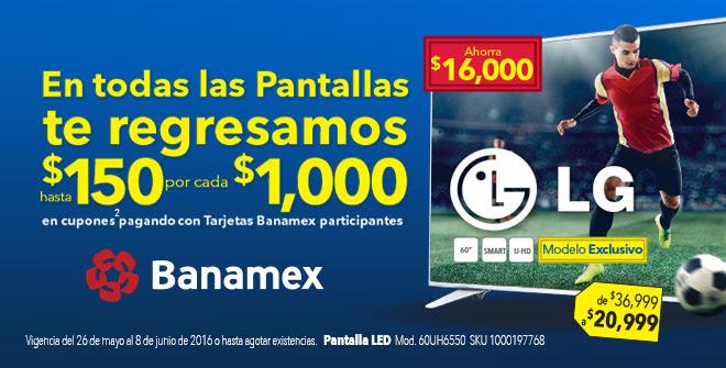 Best Buy en Línea: Hasta $150 en cupones por cada $1000 + MSI en todas las pantallas pagando con Banamex