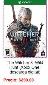 Camelot Games: The Witcher 3 para Xbox One (descarga digital) y otros desde $99