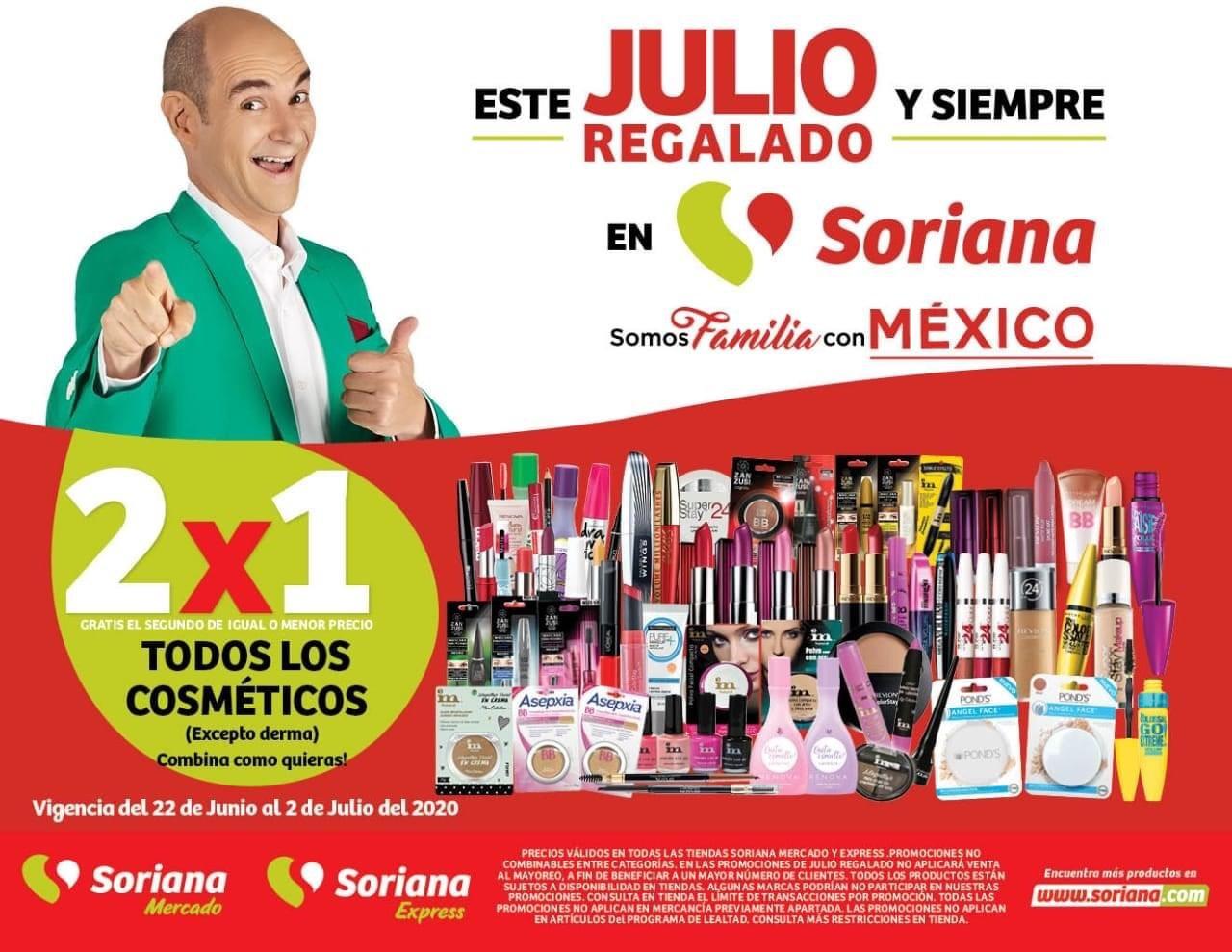 Julio Regalado 2020 en Soriana: 2x1 en TODOS los Cosméticos