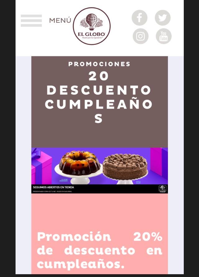 El Globo: Descuento en pastel durante el mes de tu cumpleaños