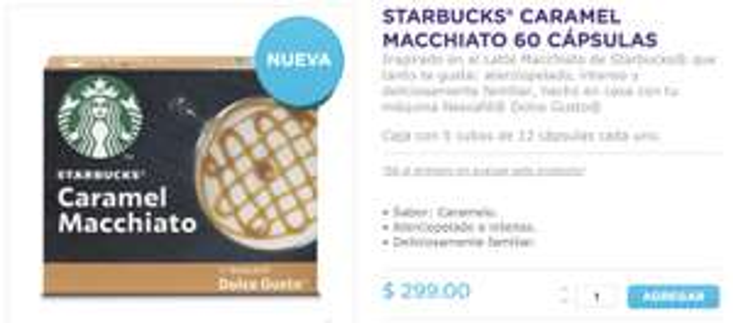 Dolce Gusto: 60 cápsulas Starbucks Caramel Macchiato