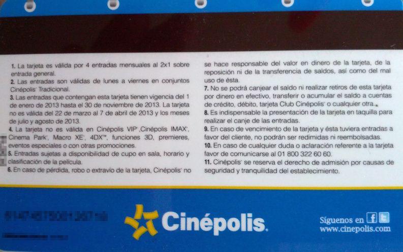 Calendario Cinépolis 2013: 4 entradas mensuales al 2x1 y más
