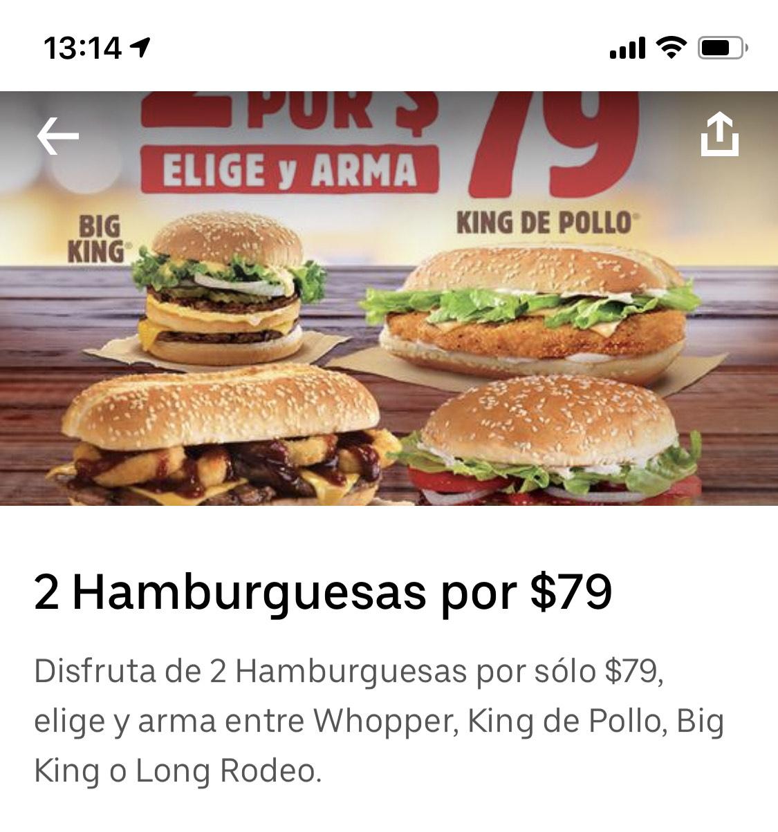 Uber Eats: 2 hamburguesas Burger King para el susto por UberEats