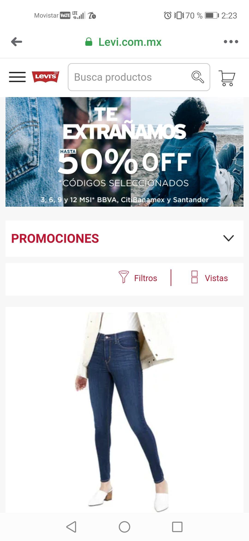 Levi's: Variedad de pantalones levi's hasta al 50% de descuento.