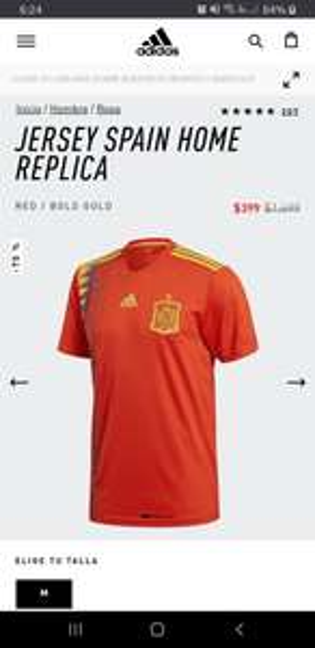 Adidas: Jersey de Fútbol España Réplica Talla M versión aficionado