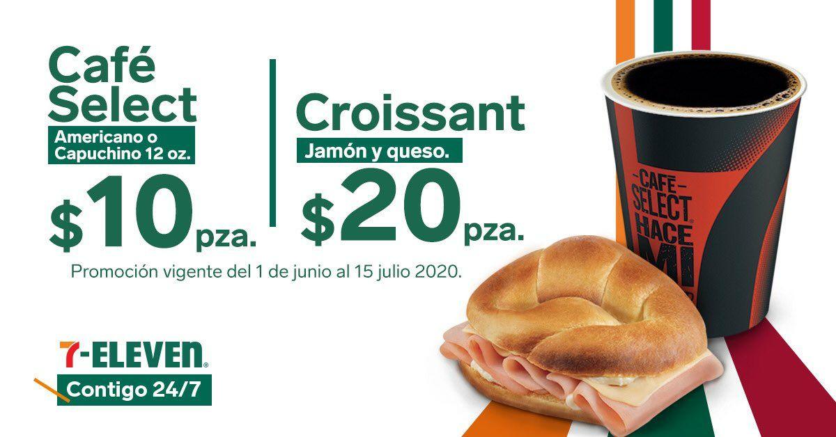 7 Eleven App: Café Select 12 oz. $10, Croissant de jamón y queso $20