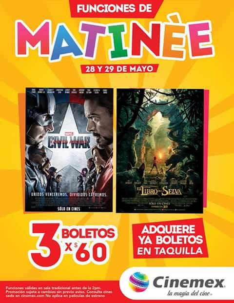 Cinemex: 3 boletos para matinée El Libro de la Selva y civil war por $60 28 y 29 de mayo