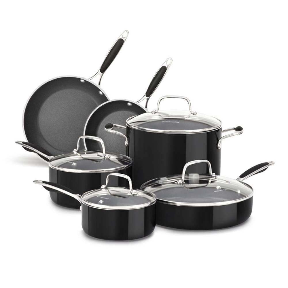 Walmart en línea: Batería de Cocina KitchenAid Negra de Aluminio 10 Piezas de $4,190 a $2,590