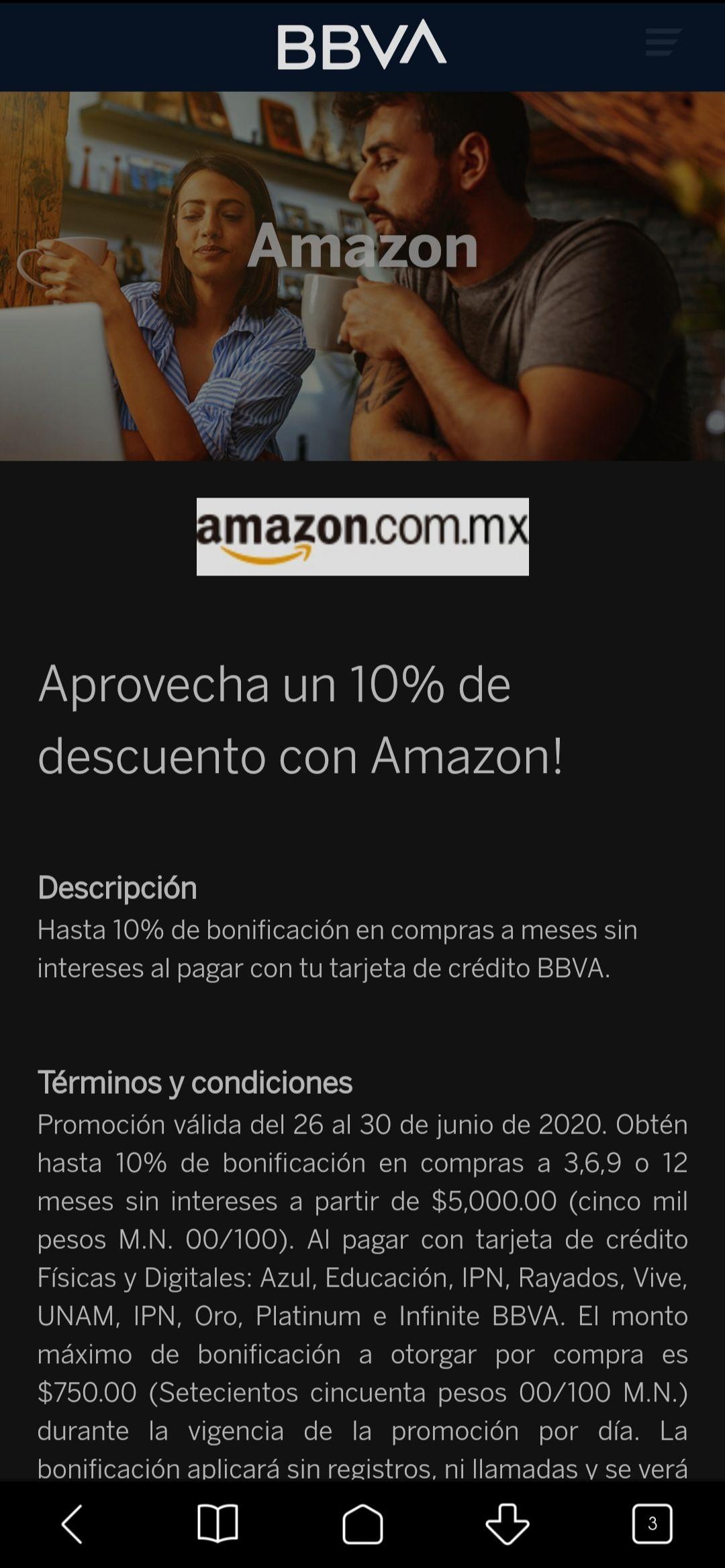 Bonificación 10% con BBVA en amazon, compra mínima $5,000 a MSI