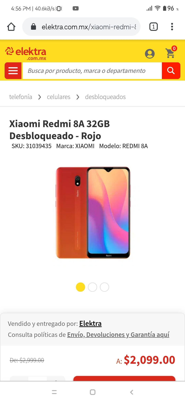 Elektra: Xiaomi Redmi 8A, Versión 2/32, Desbloqueado - Color Rojo