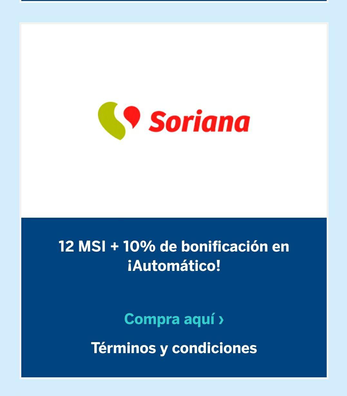 BBVA y Soriana 12 MSI + 10% bonificación automática