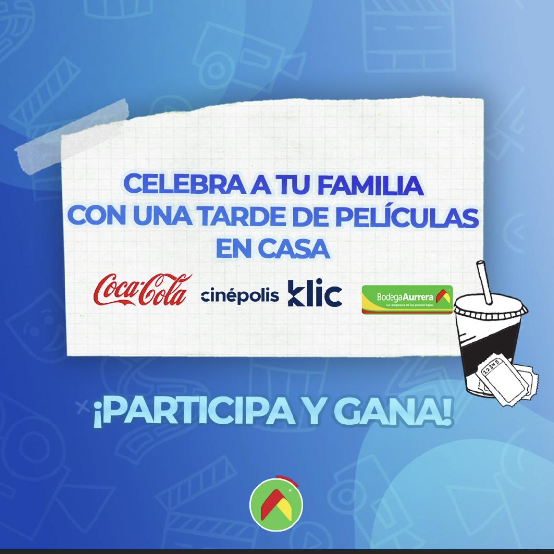 Cinepolis Klic: 2 códigos gratis en compra de productos Coca Cola en Bodega Aurrera
