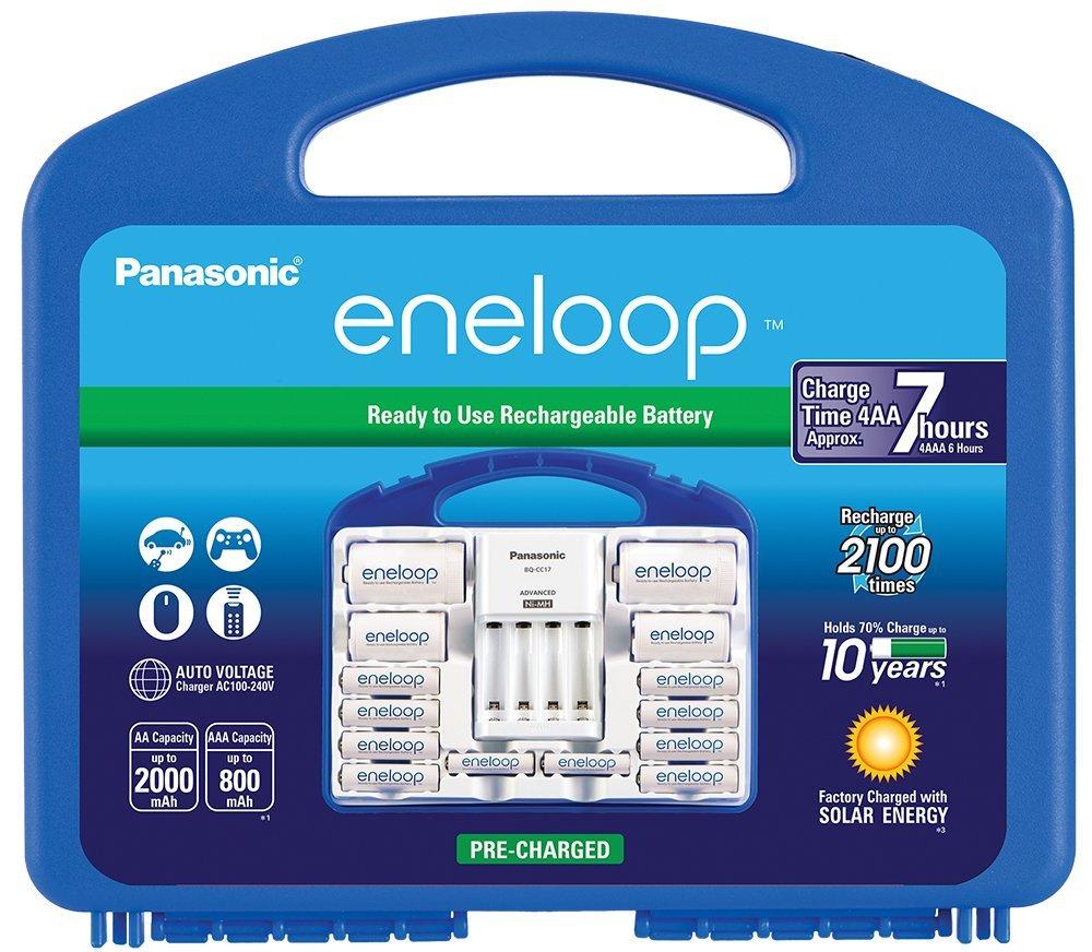 Amazon: cargador Panasonic Eneloop con 8 pilas AA, 2 AAA, 2 separadores C y 2 D