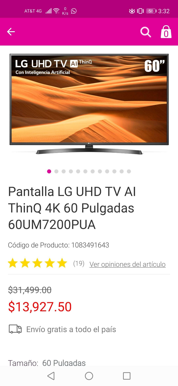 Liverpool: Pantalla LG UHD TV AI ThinQ 4K 60 Pulgadas 60UM7200PUA