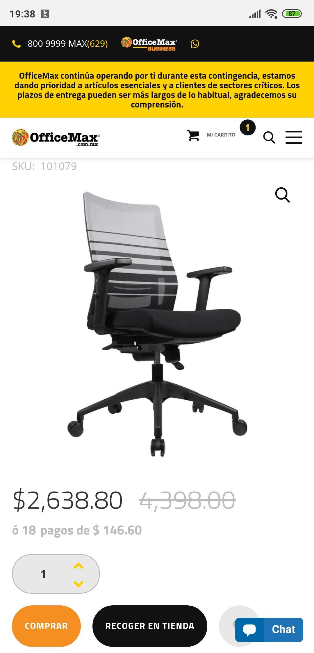 Office Max: Sillas Ejecutiva.