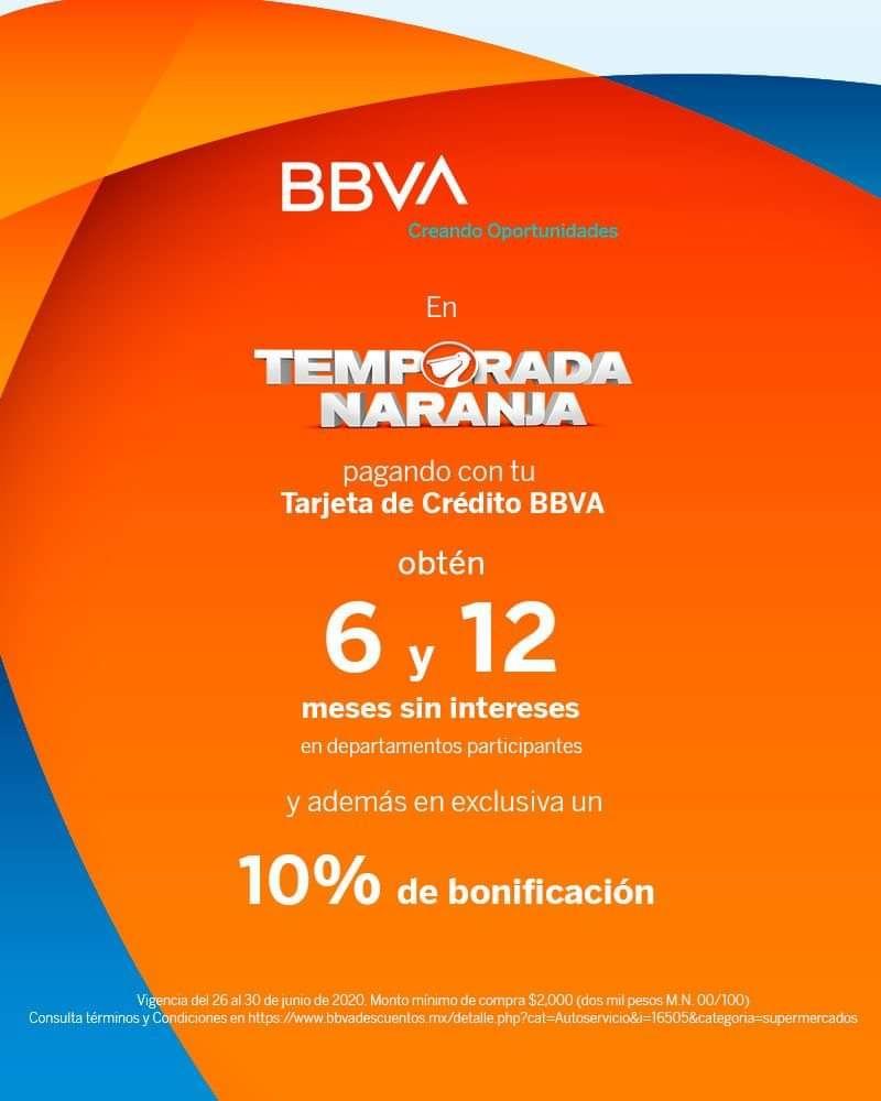 La Comer y BBVA: 6 y 12 MSI en departamentos participantes + 10% de bonificación pagando con tarjetas de crédito BBVA