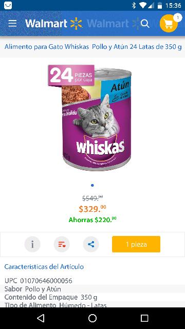 Walmart en línea: 24 latas de whiskas pollo y atún 350 gr. a $329
