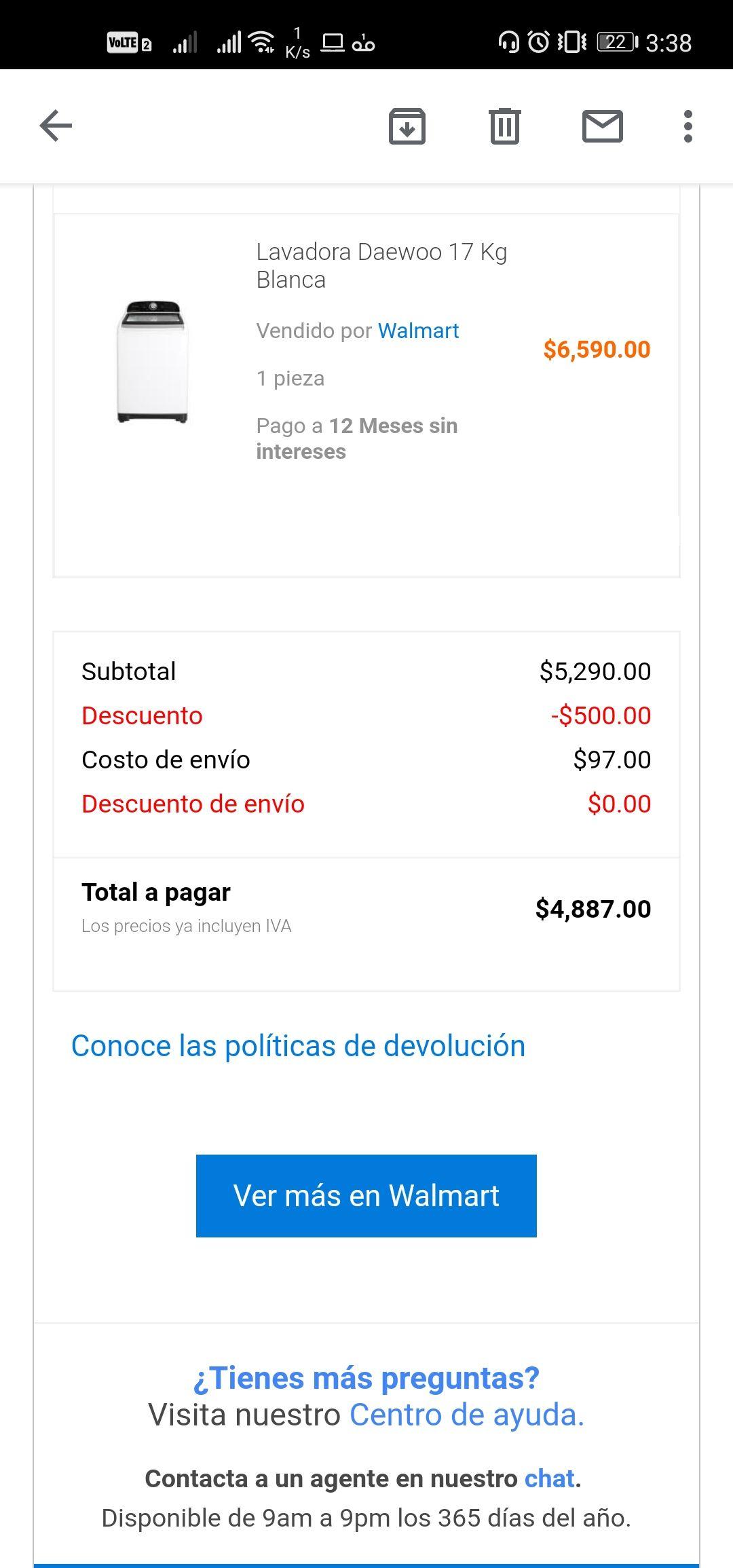 Walmart: Lavadora Daewoo 17Kg hasta 12 o 18 MSI con BBVA