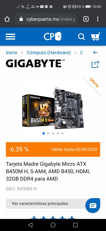 Cyberpuerta: Tarjeta Madre Gigabyte Micro ATX B450M H, S-AM4, AMD B450, HDMI, 32GB DDR4 para AMD