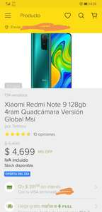 Tienda Oficial Telmov en Mercado Libre: Xiaomi Redmi note 9 4 gb + 128 gb. Version global