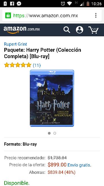 Amazon México: Coleccion Harry Potter Blu-Ray a $899