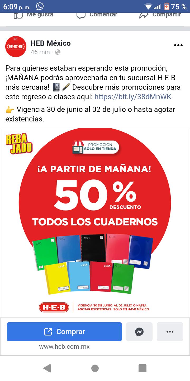 HEB TODOS LOS CUADERNOS AL 50 %