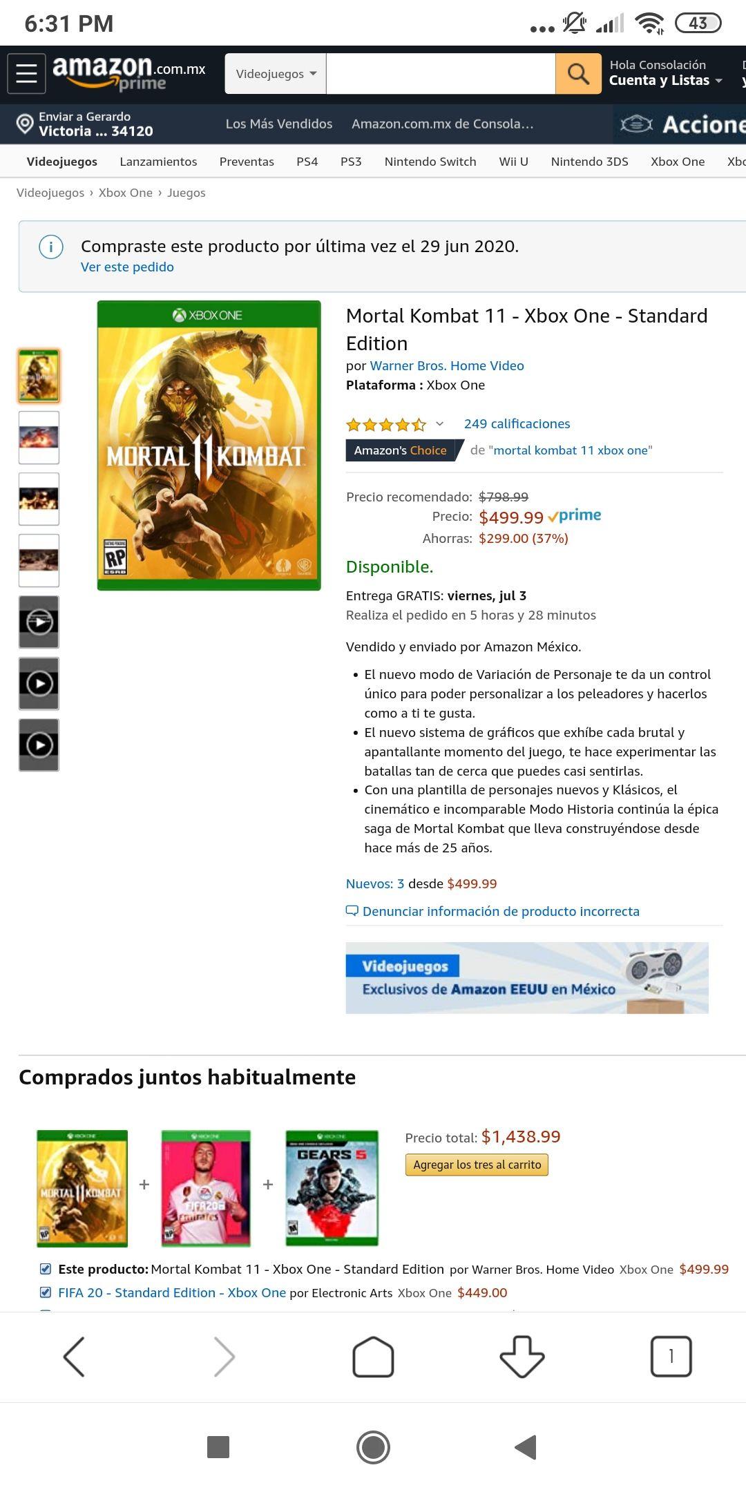 Amazon: Mortal Kombat 11 para Xbox one