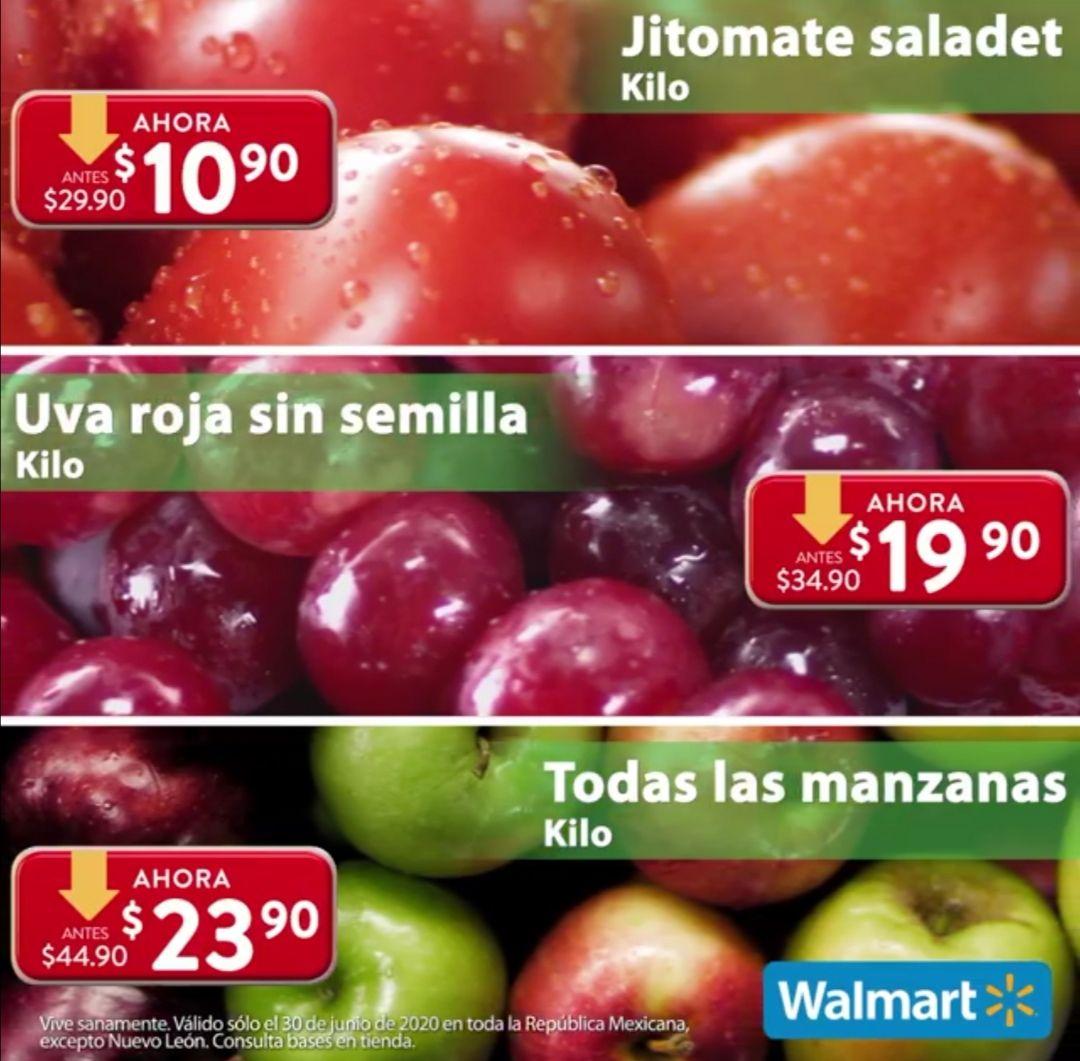 Walmart: Martes de Frescura 30 Junio: Jitomate Saladet $10.90 kg... Uva Roja sin Semilla $19.90 kg... Todas las Manzanas $23.90 kg.
