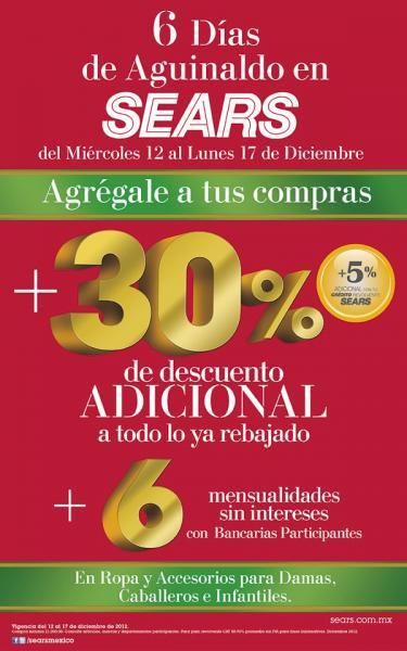 Sears: 30% de descuento adicional o lo rebajado y 6 MSI en ropa y accesorios