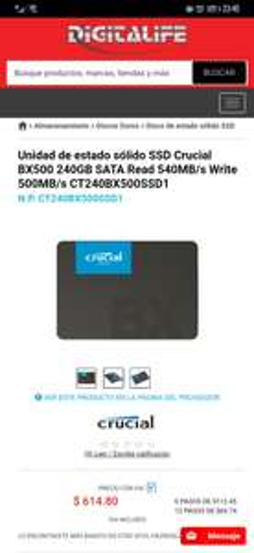 Digitalife: SSD Crucial 240gb