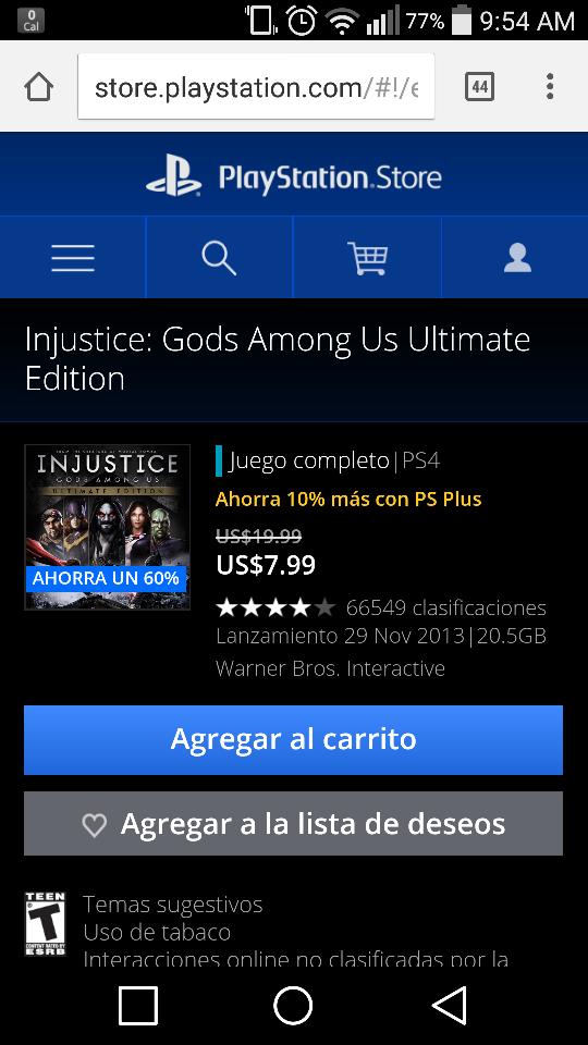 Playstation Store: Injustice Gods Among Us 8 dolares