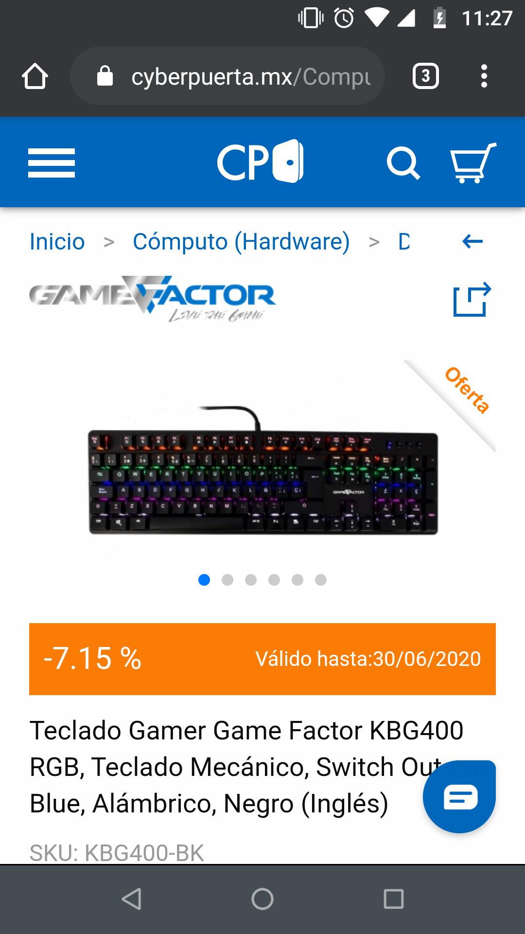 CyberPuerta Teclado mecánico Game Factor KBG 400