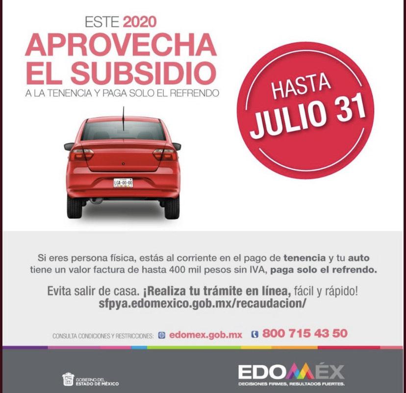 Gobierno del Estado de México: Ampliación en pago de refrendo y 100% subsidio en tenencia hasta 31 de Julio