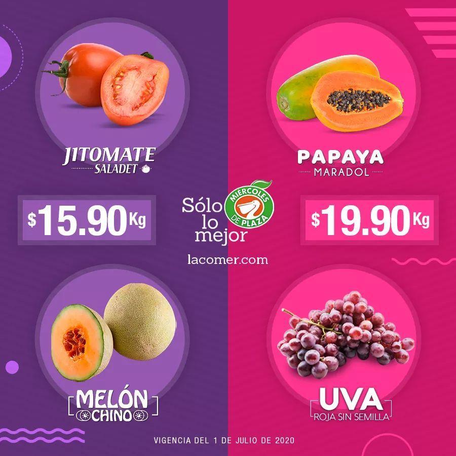 La Comer y Fresko: Miércoles de Plaza 1 Julio: Jitomate Saladet ó Melón Chino $15.90 kg... Papaya Maradol ó Uva Roja sin Semilla $19.90 kg.
