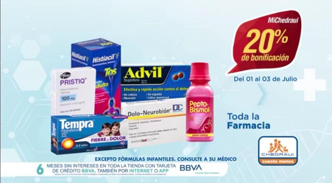 Chedraui: 20% de bonificación en toda la farmacia (20% de descuento en tienda en Línea)