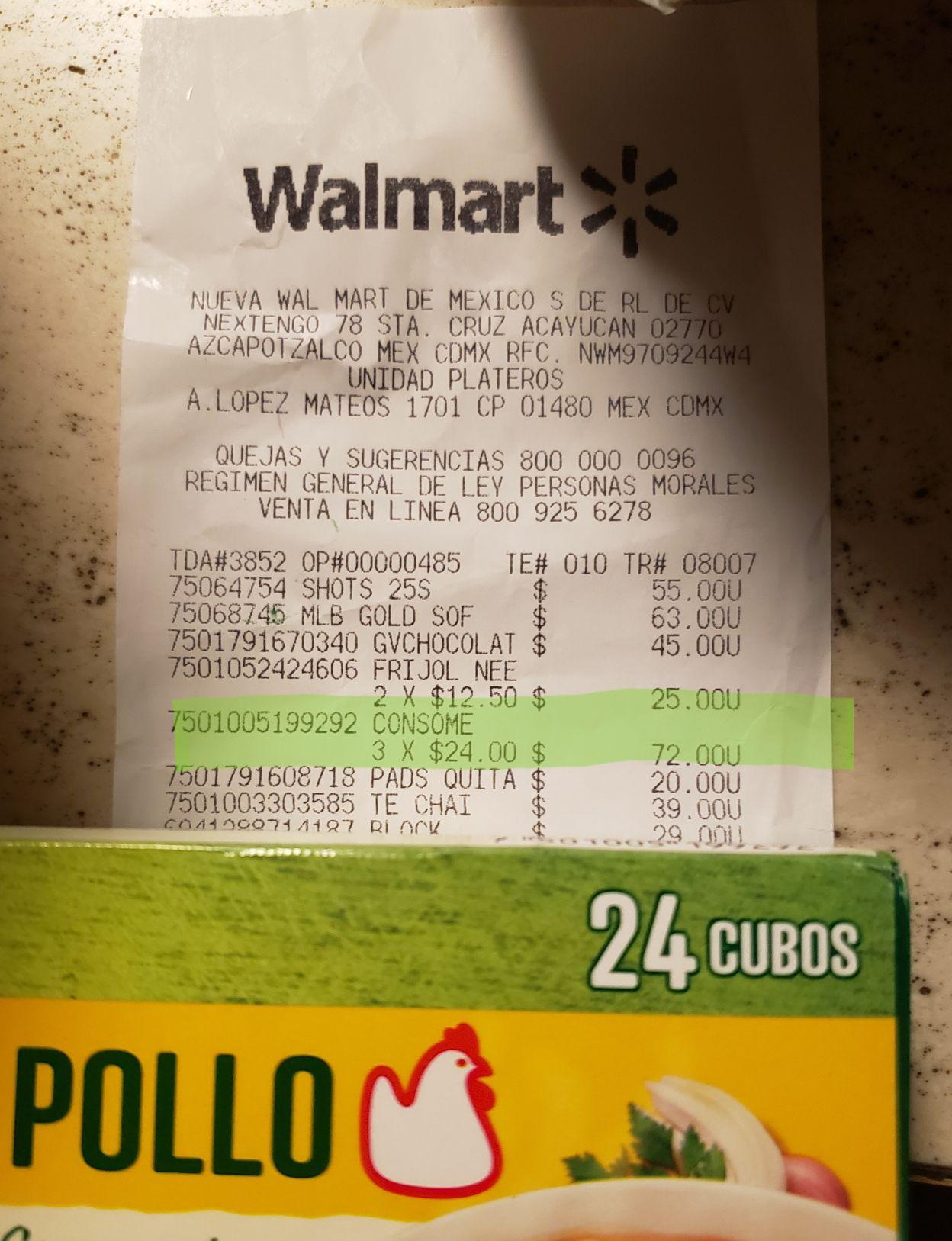 Walmart: 24 cubos caldo de pollo Knorr