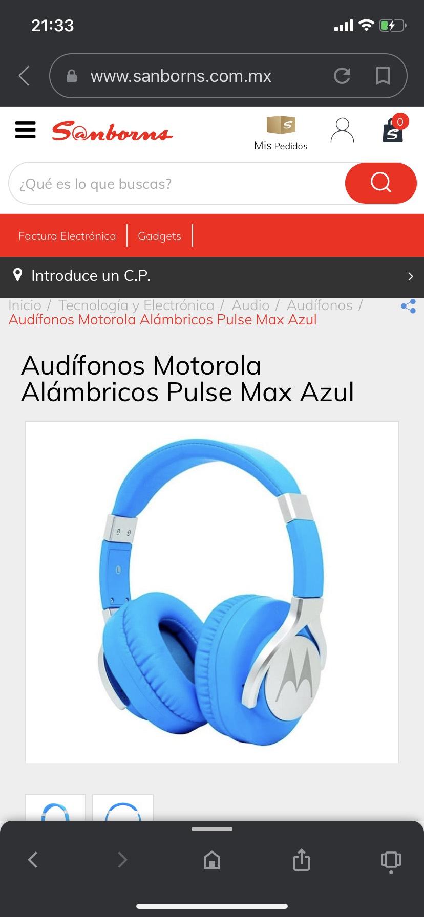 Sanborns: Audífonos Motorola Alámbricos Pulse Max Azul
