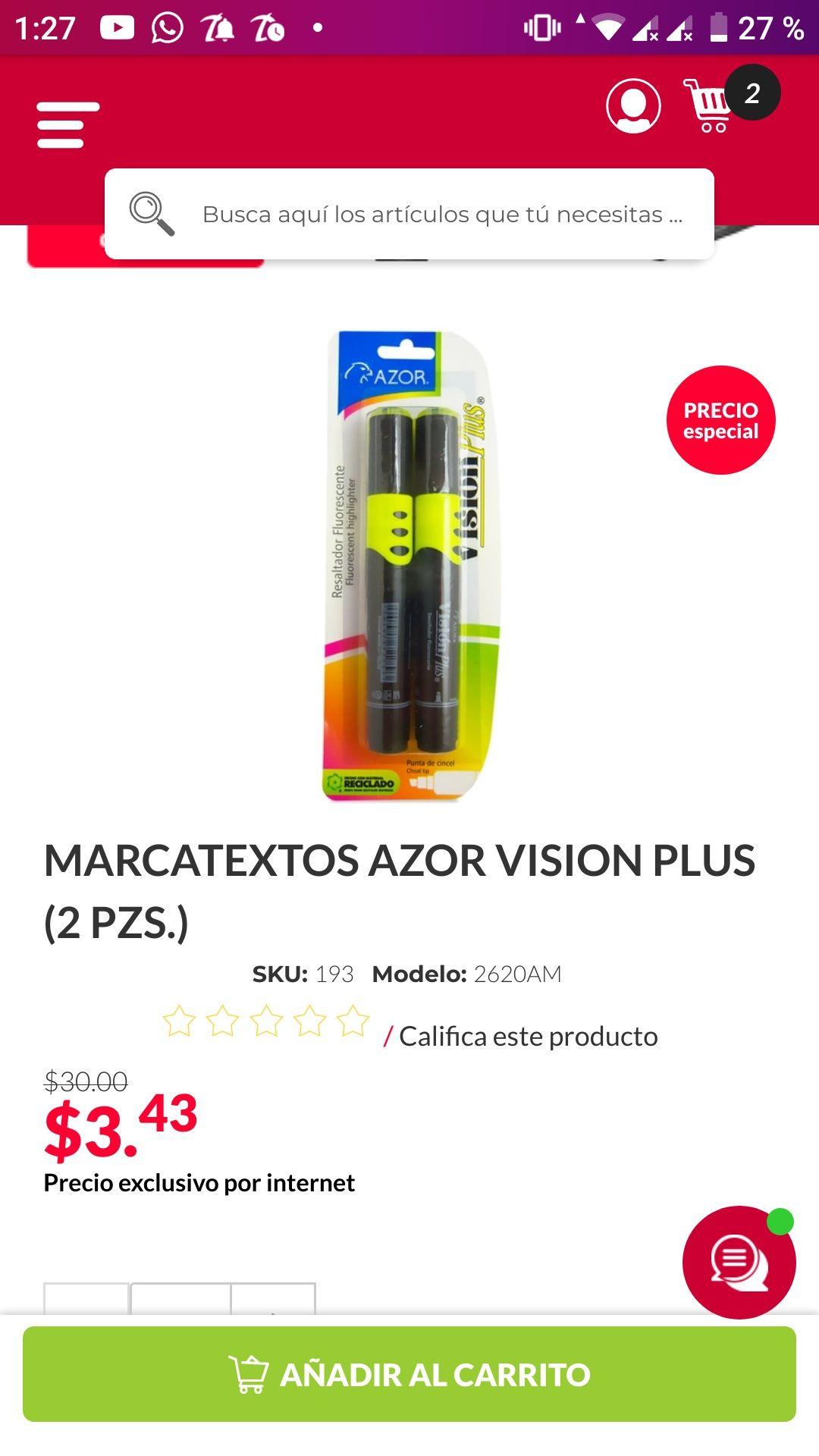 OFFICE DEPOT: MARCATEXTOS AZOR VISION PLUS (2 PZS).