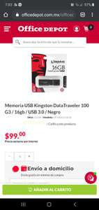 Office Depot Usb kingston 16gb con envío gratis