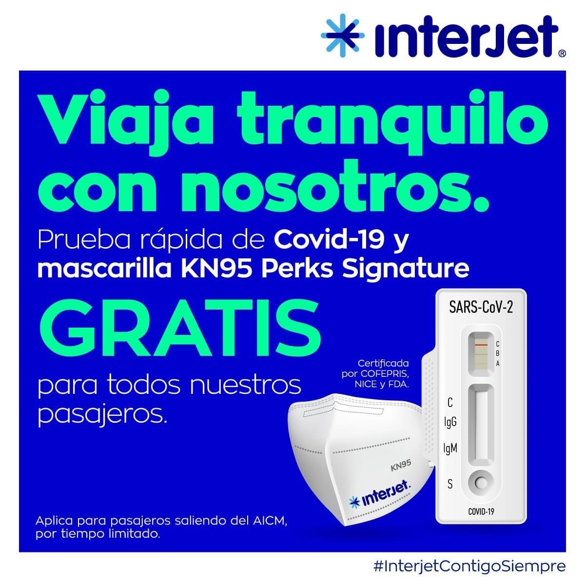 Interjet: Cubrebocas KN95 GRATIS + Prueba Rápida GRATIS