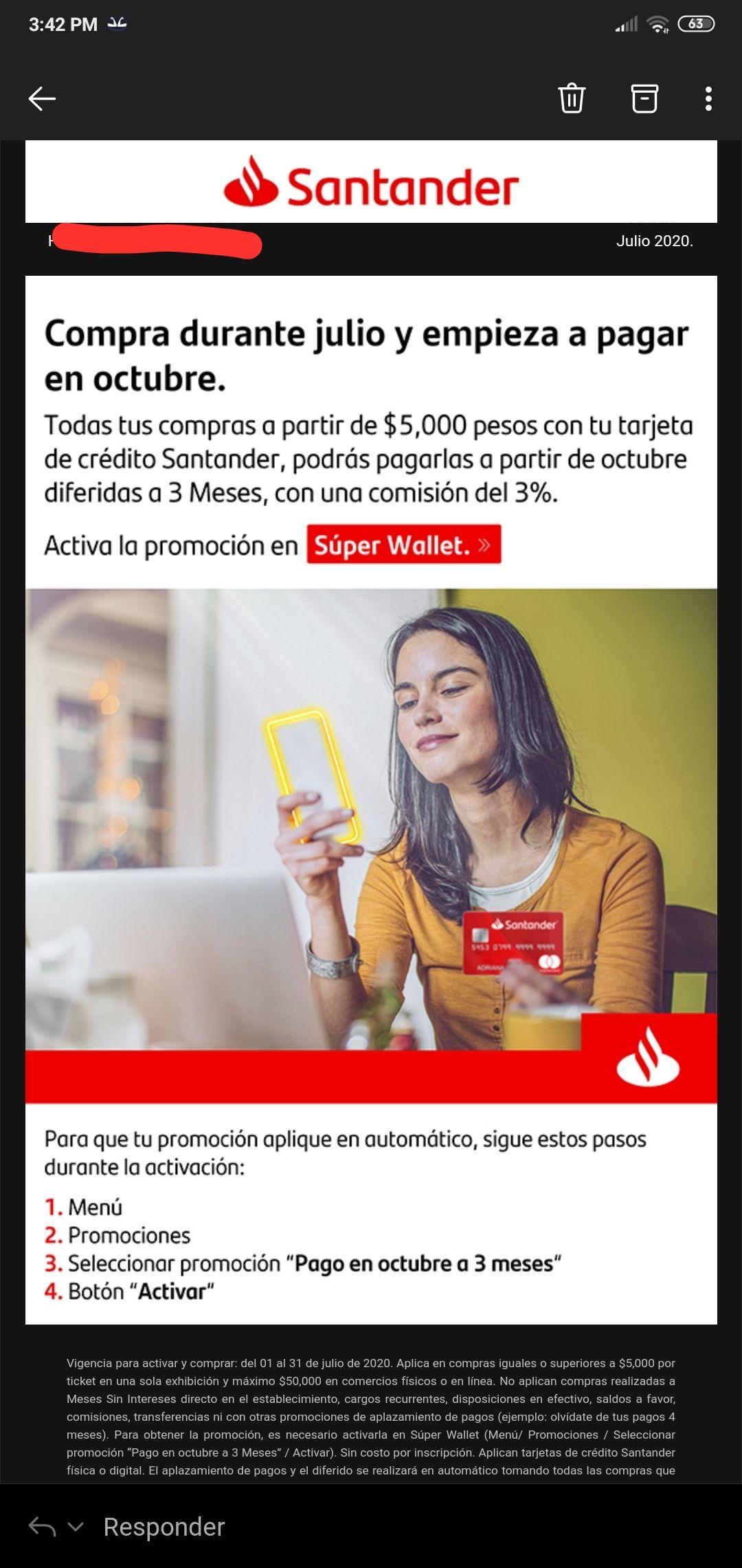 Compra en julio y paga hasta octubre con Santander.