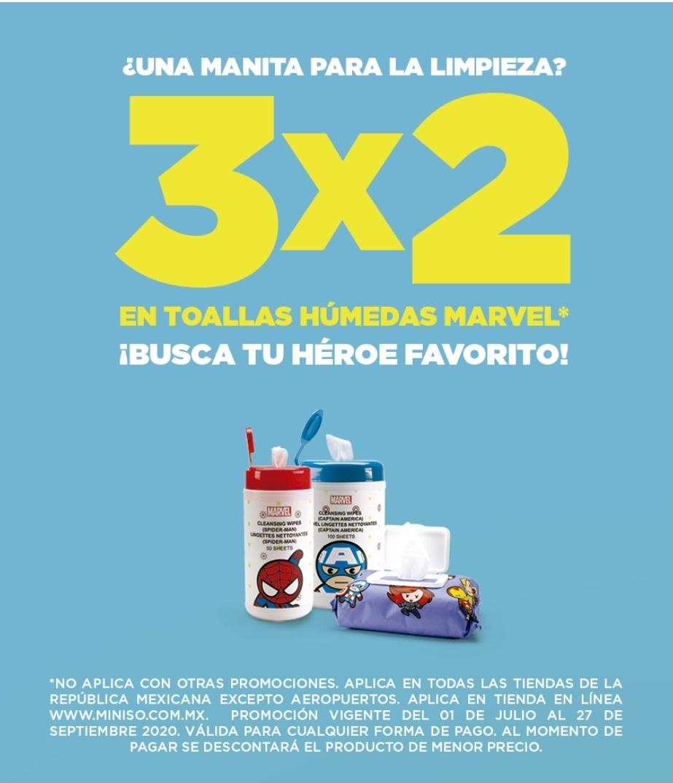 Miniso: 3x2 en toallitas húmedas de superhéroes