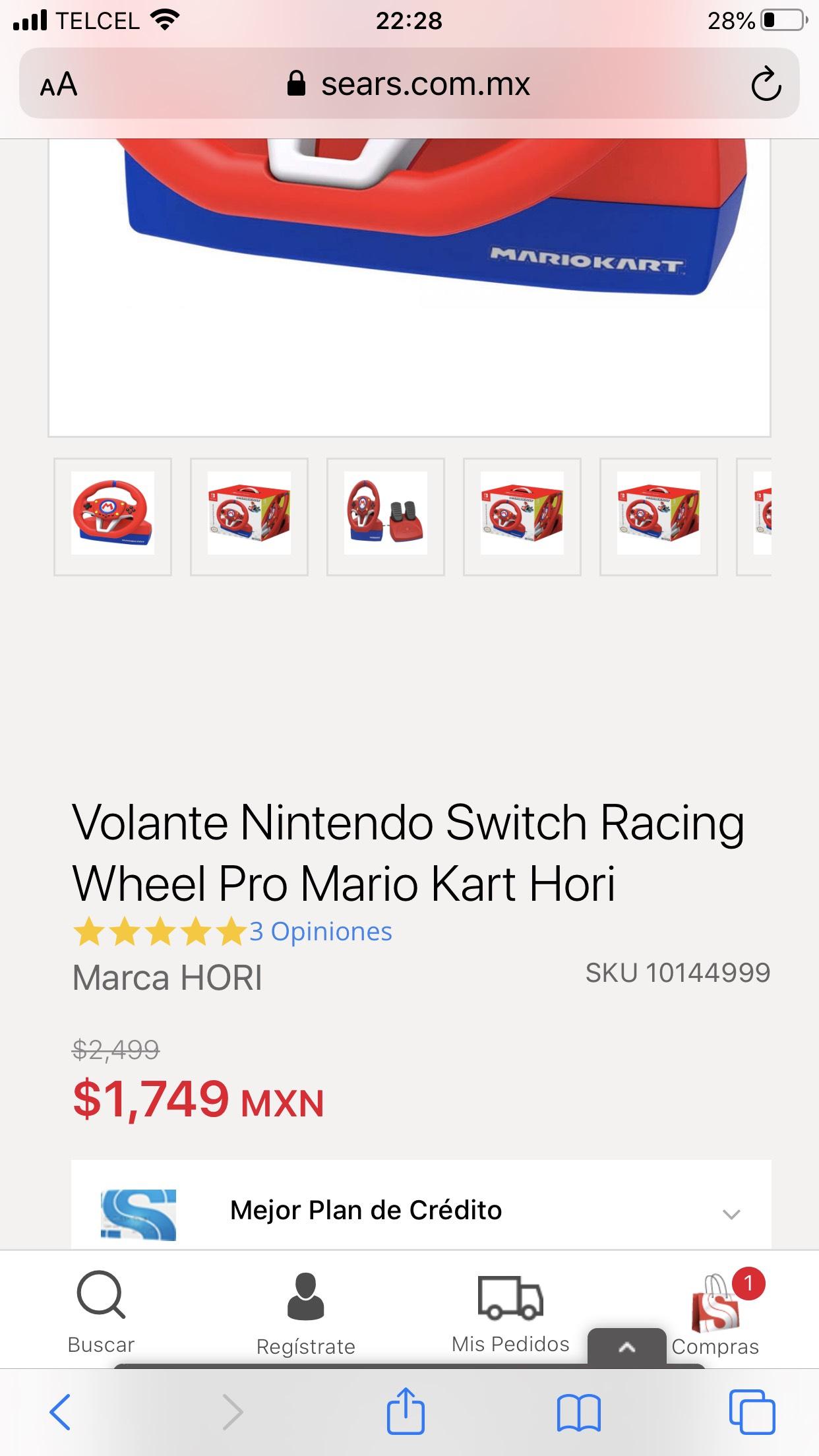 Sears: Volante Mario Kart Nintendo Switch