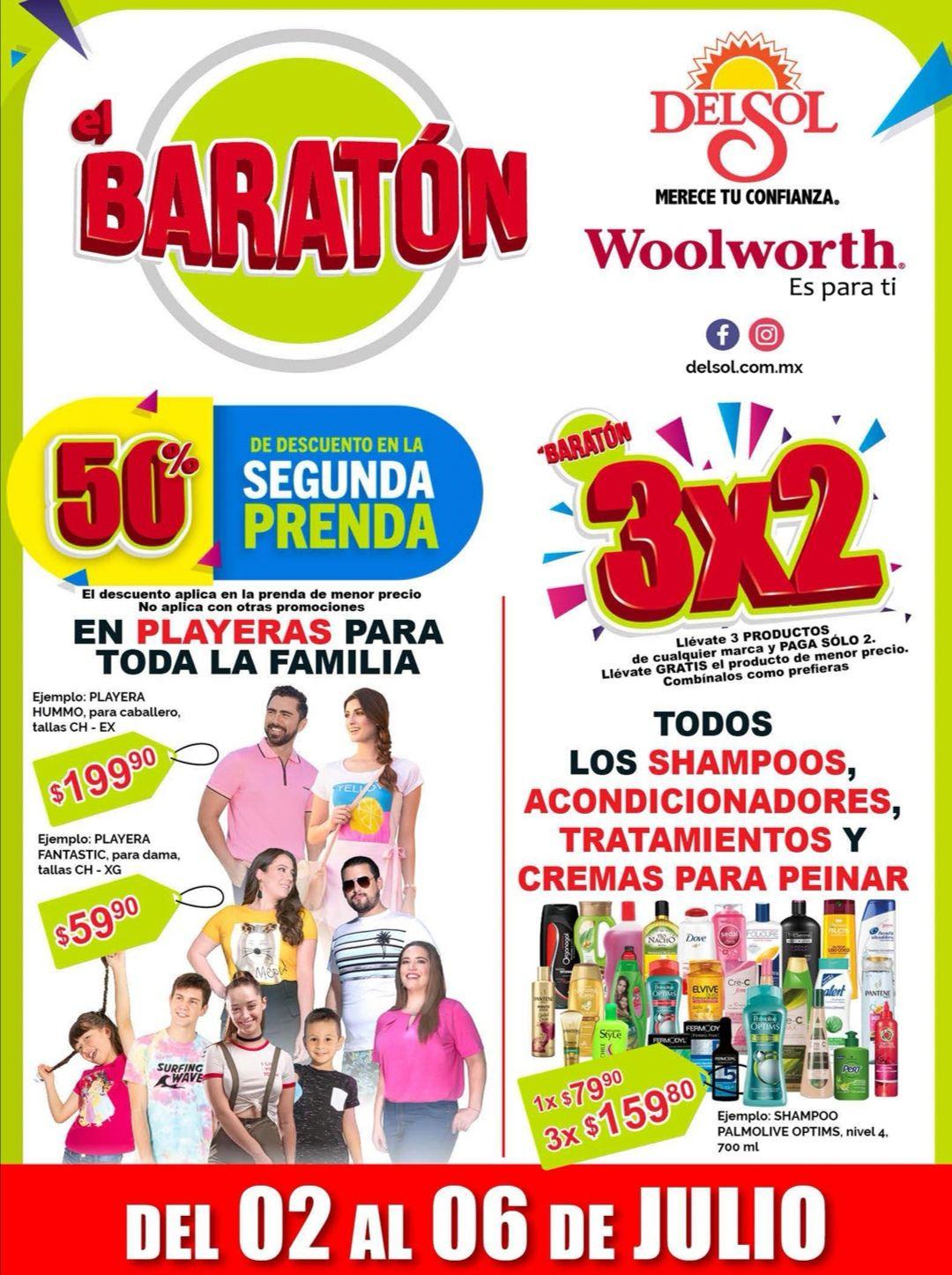"""Woolworth y Del Sol: 2° Folleto de Ofertas """"El Baratón"""" del Jueves 2 al Lunes 6 de Julio"""